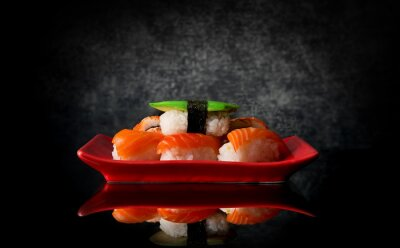 Fototapeta Sushi na červeném štítku
