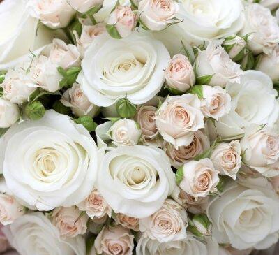 Fototapeta Svatební kytice z bílých růží pinkand