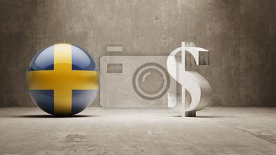 Švédsku. Peníze Sign koncept.