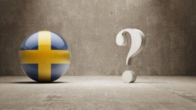 Švédsku. Question Mark Concept.