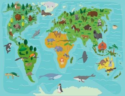 Fototapeta Svět zvířat. Legrační kreslený mapa