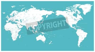 Fototapeta Světová mapa plochý Asie ve středu vektoru.