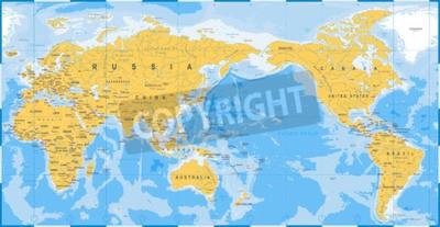 Fototapeta Světová mapa žlutá modrá, Asie v centru vektoru.