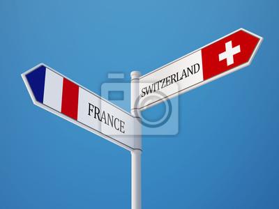 Švýcarsko Francie Znamení Vlajky Concept