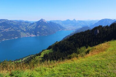 Fototapeta Švýcarsko, hory a jezero