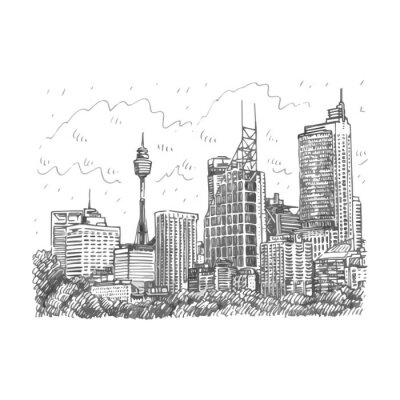 Fototapeta Sydney Tower a mrakodrapy Pohled na Sydney, Austrálie. Vektor ruky tužku skica.