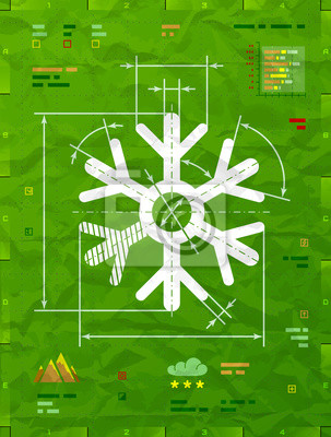 Symbol Snowflake Jako Technicky Vykres Kresba Snehove Znacky