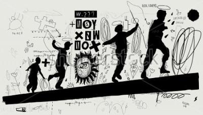 Fototapeta Symbolické obrazce chlapců, kteří běží na deníku