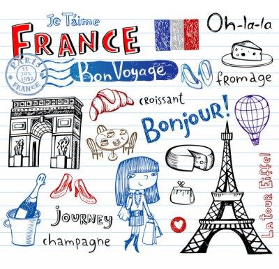 Fototapeta Symboly Francii jako funky čmáranice