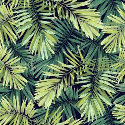 Fototapeta Sytě zelené pozadí s tropickými rostlinami. Bezešvá vektorová exotické vzor s fénix palmových listů.