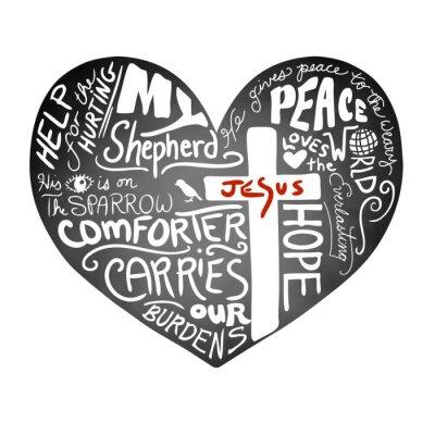 Fototapeta tabule srdce vektor s bílým rukopisného textu typografie s křesťanský kříž a Ježíšem v červených písmen, inspirativního kostel bulletinu designu, míru, lásky a pomoc pro zraněné koncepce