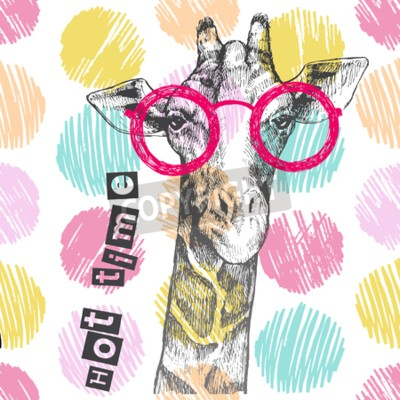 Fototapeta Tahá ruční žirafa. Jasné žirafy - boky. Dobrý čas. Letní tisk na oblečení, boty, tričko, raglán. Vektor