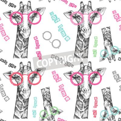 Fototapeta Tahá ruční žirafa. Jasné žirafy - boky. Dobrý čas. Letní tisk na oblečení, boty, tričko, raglán. Vektor. Vzor pro textil nebo papír
