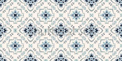 Fototapeta Talavera vzor. Azulejos portugalsko. Turecký ornament. Marocká dlaždicová mozaika. Španělský porcelán. Keramické nádobí, lidový tisk. Španělská keramika. Etnické pozadí. Středomořská vyhovová tapeta