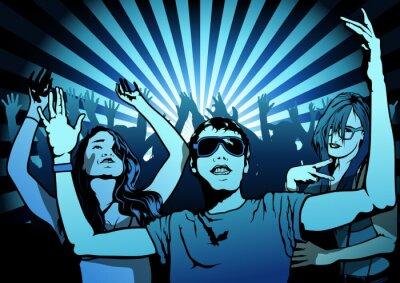 Fototapeta Tančící lidé na Disco Party - ilustrace, Vector