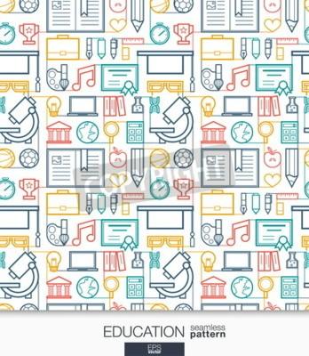 Fototapeta Tapeta vzdělání. Školicí a univerzitní spojený vzorek. Obklady textury s tenkou čárou integrované webové ikony nastavit. Vektorové ilustrace. Abstraktní pozadí e-learningu pro mobilní aplikaci