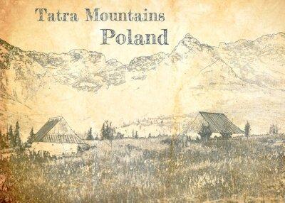 Fototapeta Tatra mountain in Poland, sketch on old paper