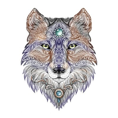 Fototapeta Tattoo head wolf divoká šelma