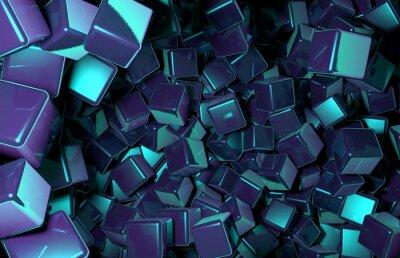 Fototapeta Tavené 3D kostky rozmístěna ve vesmíru, tmavě modrá Cubes