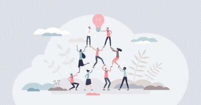 Fototapeta Teamwork success as team pyramid to innovative results tiny person concept