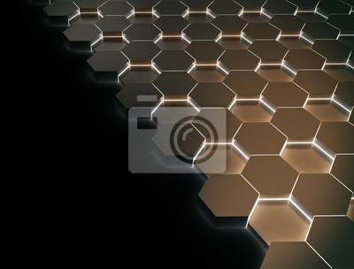 Fototapeta Technické 3d šestihranný design pozadí