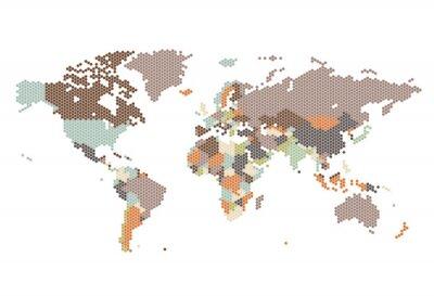 Fototapeta Tečkované Mapa světa z šestiúhelníkových teček