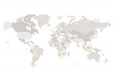 Fototapeta Tečkovaný mapa světa ze čtvercových bodů
