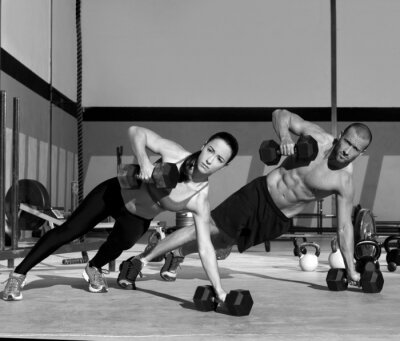Fototapeta Tělocvična muž a žena push-up síla pushup