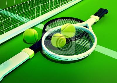 fcb35e2e2c5 Tenis  raketa  tenisový kurt trávy fototapeta • fototapety tenisový ...
