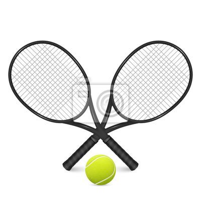 628887c13c7 Tenisový míč a dva zkřížené rakety. fototapeta • fototapety tenisová ...