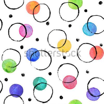 Fototapeta Textury akvarelů. Akvarelové skvrny s kruhy inkoustových karet suchým kartáčem. Bezešvé vzor. Akvarel vzor s barevným tělem a černé kruhy izolované na bílém pozadí.