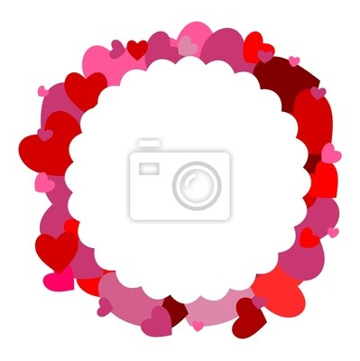 Fototapeta The shape of a flower with hearts in the background