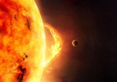 Fototapeta The Sun - Sluneční erupce. Ilustrace slunce a sluneční erupce s planetou poskytnout měřítko velikosti světlice.