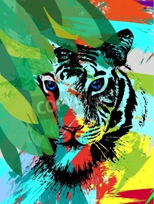 Fototapeta Tiger pod leafes ve vektoru