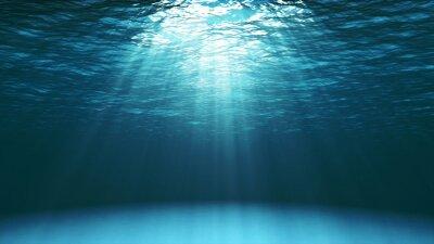 Fototapeta Tmavě modrý oceán povrch je patrné z podvodní