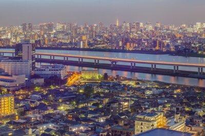 Fototapeta Tokio výhled na město s Tokijská věž v soumraku