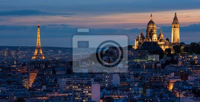 Fototapeta Tour Eiffel et Sacré Coeur au couché de soleil