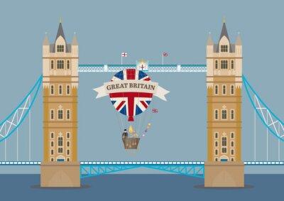 Fototapeta Tower Bridge v Londýně s horkovzdušném balónu