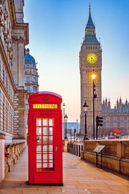 Fototapeta Tradiční červené telefonní budky a Big Ben v Londýně