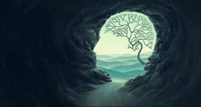 Fototapeta Tree brain with human head cape, idea concept of think  hope freedom and mind , surreal artwork, dream art , fantasy landscape, imagination of nature