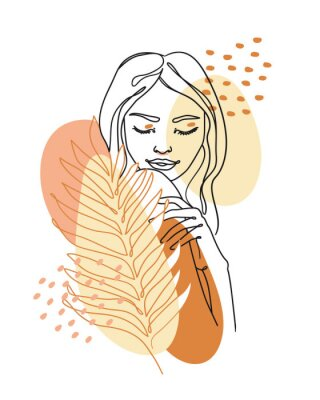 Fototapeta Trendy abstract continuous one line woman portrait with palm leaf and geometric shapes. Vector.