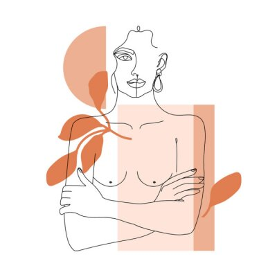Fototapeta Trendy one line woman body with abstract geometric shapes. Girl crossing arms on her chest. Elegant continuous line print for textile, poster, card, t-shirt etc. Vector fashion illustration.