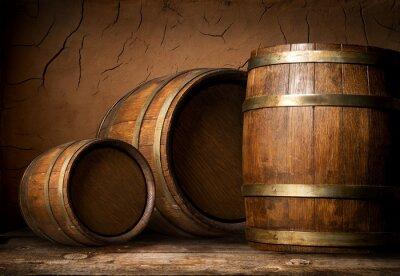 Fototapeta Tři dřevěné sudy