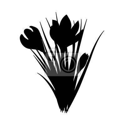 Tri Rucne Kreslene Kvetiny Elegantni Vinobrani Cerna Silueta