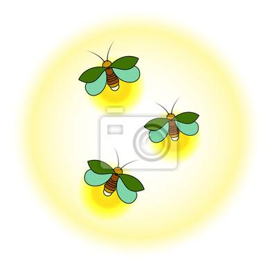 Tri Zelene Svetlice S Zlutou Zare Jednoduchy Stylizovany Vykres