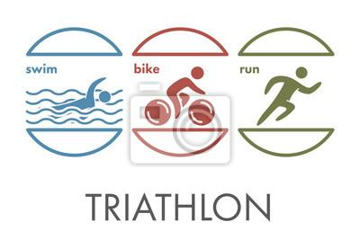 e9558edde8 Fototapeta Triathlon logo a ikonu. Plavání