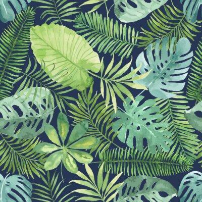 Fototapeta Tropical bezešvé vzor s listy. Akvarel pozadí s tropickými listy.