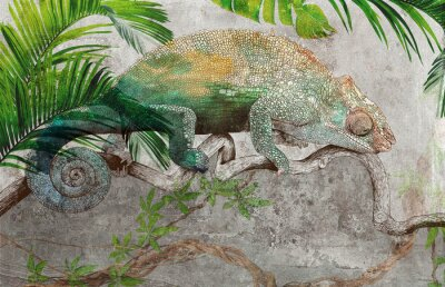 Fototapeta Tropical leaves and plants with graphic drawn chameleon on concrete grunge wall. Great choise for wallpaper, photo wallpaper, mural, card, postcard. Design for modern and loft interiors.
