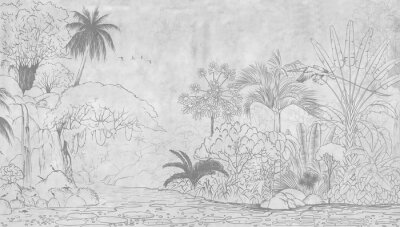 Fototapeta Tropical nature landscape, jungle with exotic tropical plants, flowers and leaves. Drawn jungle illustration. Design  for card, postcard, wallpaper, photo wallpaper, mural.