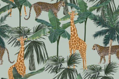 Fototapeta Tropical seamless pattern with palm trees, giraffes and leopards. Summer yungle background. Vintage vector illustration. Rainforest landscape